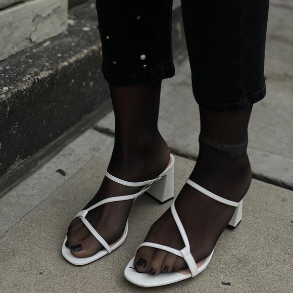 COPY - ZARA White Leather Strappy Sandals